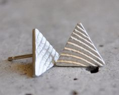 hand crafted sterling silver triangle earrings with cuttlefish texture Handmade Jewelry, Unique Jewelry, Handmade Gifts, Cuttlefish, Triangle Earrings, Women's Earrings, Jewlery, Cufflinks, Bronze