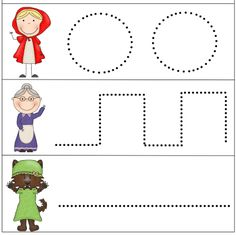 Tracing lines - part 1 Tracing Worksheets, Preschool Worksheets, Preschool Activities, Pre Writing, Red Riding Hood, Conte, Fine Motor Skills, Nursery Rhymes, Little Red