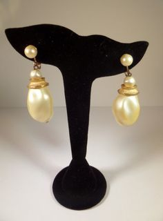 Faux Baroque Pearl Dangle Earrings Huge by TallulahsVintage