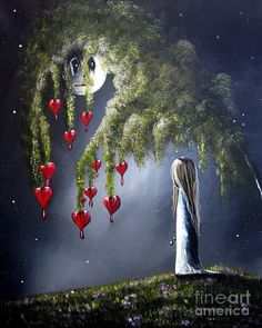 Outsider Painting - Night Of The Bleeding Hearts By Shawna Erback by Shawna Erback
