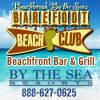 The Barefoot Beach Club - Springbreakers, other times family friendly. located on the beach between the Legacy and the Beachbreak, serves seafood, sandwiches, surf and sunshine from its open-air deck. Treat the little tootsies to a kid's meal served on a souvenir Frisbee.™ Best of all, guests' kids eat FREE! Parents receive one FREE kids meal for every entree or sandwich purchased.*