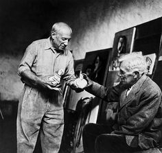 Lee Miller (1907-1977). Pablo Picasso and Georges Braque, 1954. Gelatin silver print on Agfa paper, printed 1984, Lee Miller Archive stamp signed by Antony Penrose and editioned 21/30 in pencil verso, 23.5 x 25cm (9 1/4 x 9 7/8in).