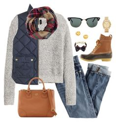 ~Sweater Weather~ by thepinkandgreenprep1 on Polyvore featuring H&M, J.Crew, L.L.Bean, Tory Burch, Michael Kors, Brooks Brothers and Ray-Ban