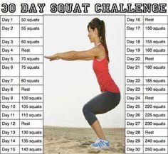 30-Day Squat Challenge Chart
