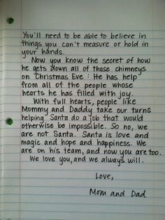 Kids santa letter from parents
