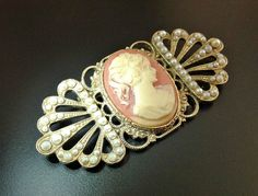 Art Deco Brooch Cameo Vintage Celluloid Seed by RenaissanceFair
