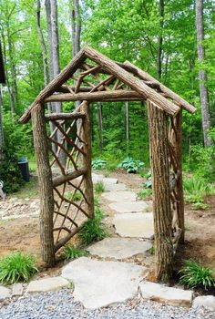 We created this custom locust arbor for a garden entryway. Our goal was to match the color of the bark on the arbor to locust railings we built for the same household years ago. Rustic Arbor, Wooden Arbor, Wooden Garden, Metal Arbor, Garden Structures, Garden Paths, Garden Landscaping, Garden Shrubs, Arbors Trellis