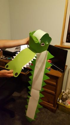Crocodile costume head made from card
