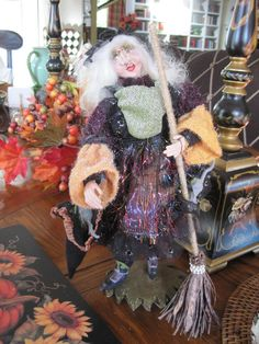 fancy halloween decoration standing witch doll figurine broom mice scary gal ebay