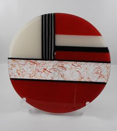 Red white and black fused glass art