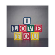 I Love You, Wooden Blocks, Color, Nursery Decor, Home Decor, Gift Idea, Valentine's Day, Blue, Red, Green, Yellow, Gender-Neutral Nursery