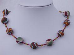 Perlenkette weinrot/hellblau/grün/gelb von Farben-Reich - Farbenfroher Modeschmuck handgemacht! auf DaWanda.com