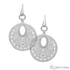 Ornate filigree drop wire earrings
