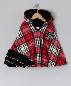 {Red & Black Plaid Ruffle Poncho - Infant, Toddler & Girls by Million Polkadots}
