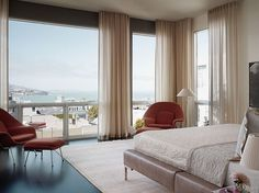 Enchanting Master Bedroom Design with Amazing View and Beige Ripple Fold Drapes Ideas Floor To Ceiling Curtains, Drapes Curtains, Bedroom Curtains, Sheer Curtains, Drapery Panels, Blackout Curtains, Corner Curtains, Window Sheers, Bedroom Ceiling