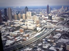 """Twitter / """"11AliveNews: RT [@]JonShirek My view of Atlanta from Gov's helicopter, on way to Augusta to survey ice storm damage. #gawx #11Alive""""  2/13/14"""