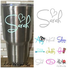 Yeti Decal Name Decal With Heart Yeti Tumbler Decal Yeti - Vinyl cup decals