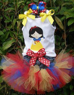 Snow White Inspired Jean Tutu Set. $38.00, via Etsy.