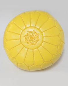 Moroccan Leather Pouffe Yellow Limona