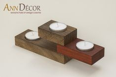 Candle holder for tealights of our series of The Wooden & Recycled Home. Candle holder made ​​of wood Padouk, from the region of the Congo and Iroko wood from west coast areas of Africa. Candle holder oiled. Padouk wood immediately after crossing is the blood-red, then falls into a cherry-red color passing in dark brown. You can buy in our boutique in http://en.dawanda.com/shop/AnnDecor