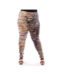 Plus Size Snake Print Khaki Leggings