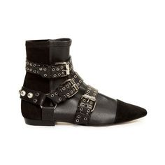 Isabel Marant Rolling leather and suede ankle boots (€610) ❤ liked on Polyvore featuring shoes, boots, ankle booties, black, black leather booties, black leather bootie, suede ankle boots, black booties and black suede booties