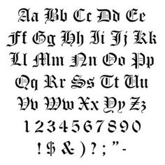 Old English Calligraphy Alphabet | Cool Old English Letter Tattoos