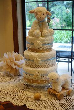 Diaper Cake for neutral Lamb Baby Shower.