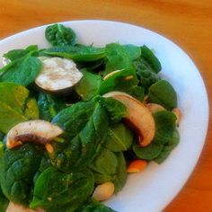 One Perfect Bite: Spinach and Mushroom Salad with Miso-Tahini Dressing