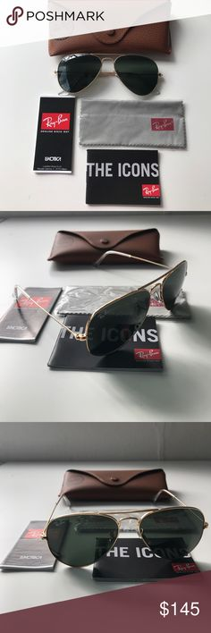 NEW Ray-Ban Aviator Sunglasses Authentic. Gold trim metal. All included as pictured. NWOT. Aviator large metal. Unisex. Adjustable nose pads. Pics are my own, not available for reproduction. Ray-Ban Accessories Glasses