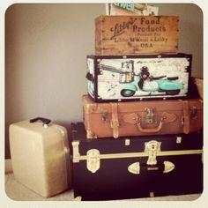 Vintage luggage side table