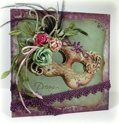 Dream Mask card. Great for birthday, thinking of you or a party. Love the 3D effect of the flowers and lace.