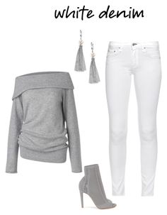 """""""White denim"""" by shnaasberry ❤ liked on Polyvore featuring rag & bone, Care By Me, Gianvito Rossi and Effy Jewelry"""