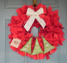 Burlap Christmas Wreath with Trees - Red Green and White - or choose your own wreath base color