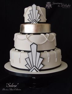Gatsby / Art Deco 1920s themed wedding cake with edible silver leaf.