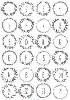 Adventskalender Nummern mit Rahmen