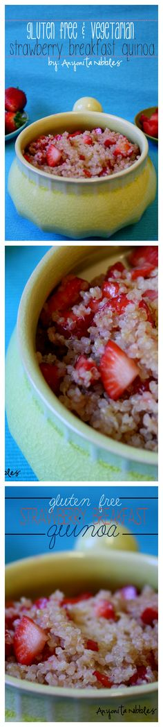 Gluten Free Vegetarian Breakfast Recipe: Strawberry Breakfast Quinoa #glutenfree #quinoa