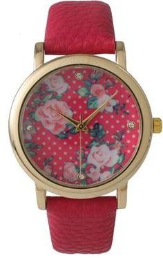 Olivia Pratt Polka Dot & Roses Leather Band Watches.