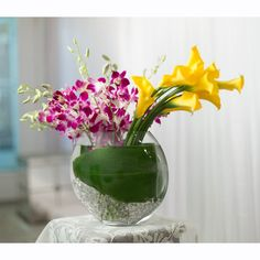 Yellow Calla Lilies and Purple Orchids - Garden World Florist