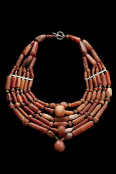 Tairona necklace of carnelian, jade and rock crystal beads, ca. 800-1500 AD, Colombia.