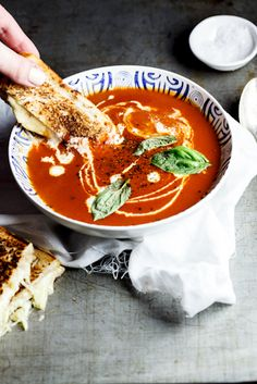 Roast tomato soup with the ultimate Grilled Cheese.