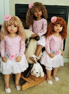 """Cassi blonde, AA and redhead Masterpiece Dolls August arrivals 2015 Ht 34"""". Thank you to Susan for her photo."""