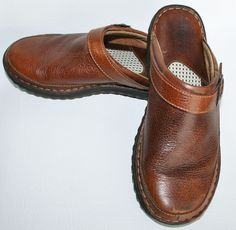 BORN Women's Brown Pebbled Leather Slip-On Buckled Top Mules (Sz 10) slide #Born #WedgeHeeledMules