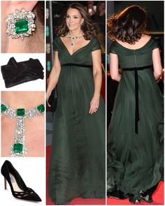 The Duchess looked ever-so glamorous in a deep green Jenny Packham gown for tonight's BAFTA…""