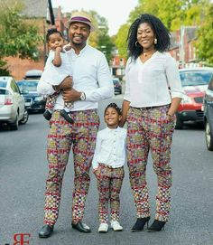 matching african outfits for family, latest african ankara styles for family, parents and kids ankara styles and designs, trendy ankara designs and styles for family, Beautiful Family Ankara Styles Couples African Outfits, African Dresses Men, Couple Outfits, African Print Fashion, Matching Family Outfits, African Attire, African Wear, African Women, Ankara Fashion
