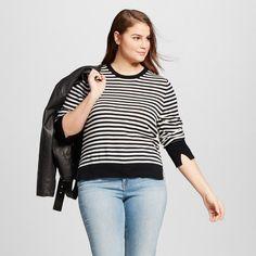 Women's Plus Size High Slit Crew Sweater Black/White Stripe 1X - Who What Wear