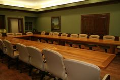 Large solid hardwood board room conference table hand made by Neal Burns 509-466-4684