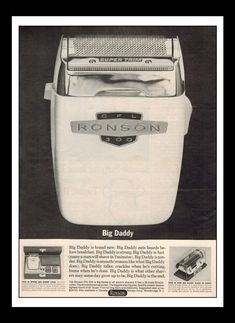 """Vintage Print Ad May 1962 : Ronson CFL 300 """"Big Daddy"""" Electric Shaver Wall Art Decor x Advertisement Electric Razors, Prayers For The Dying, Paper Ship, Big Daddy, Print Ads, Vintage Prints, Wall Art Decor, Products, Print Advertising"""