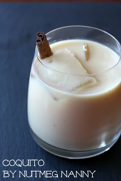 coquito (spiked puetro rican eggnog)   1 (12 ounce) can evaporated milk  1 (14 ounce) can sweetened condensed milk  2 egg yolks  1 (15 ounce) can full fat coconut milk  1/4 teaspoon fresh ground cinnamon  1 cup white rum   Add all ingredients to a blender and blend together for 3 minutes until frothy. Serve chilled (or pour over ice) with dust with cinnamon.    Store in fridge until ready to drink or between refills.