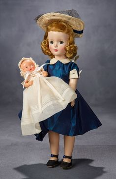 """Lot: Pristine """"Mommie and Me"""", Exclusive for Lane Bryant Department Store, Baby, Box, 1955 Lane Bryant, Vintage Madame Alexander Dolls, Christening Outfit, Baby Box, Taffeta Dress, Hello Dolly, Department Store, Black Laces, Vintage Dolls"""
